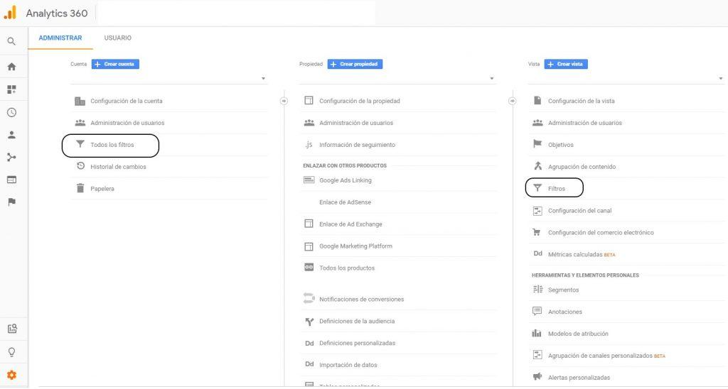 Configuración de filtros en Google Analytics
