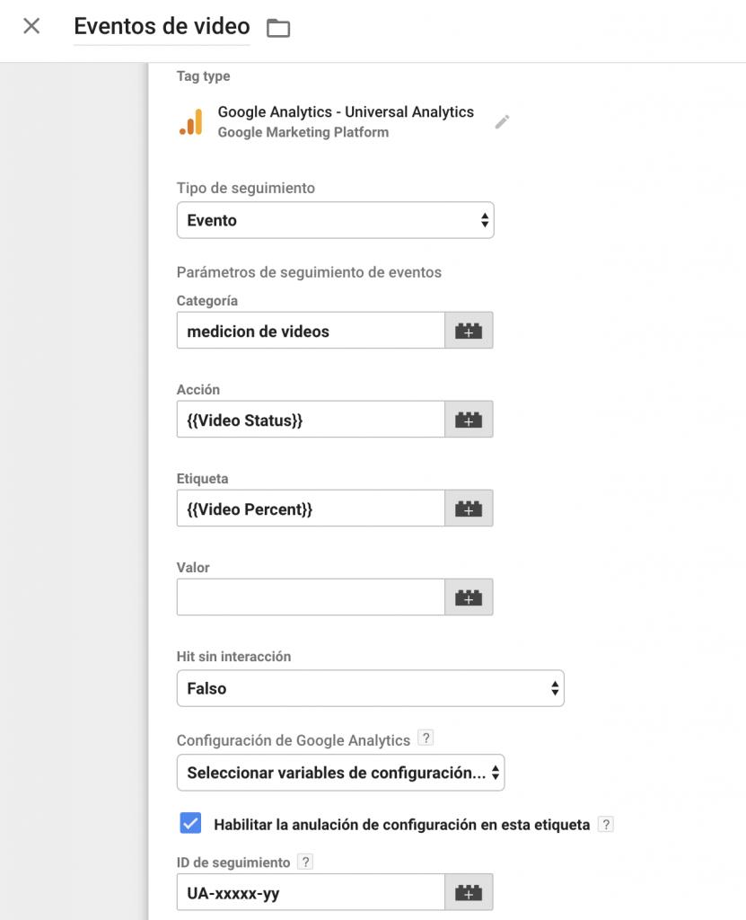 Configuración de tag de Google Analytics para enviar eventos de vídeos