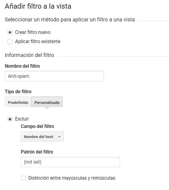 "Cómo configurar un filtro anti-spam para dominios ""not set"""