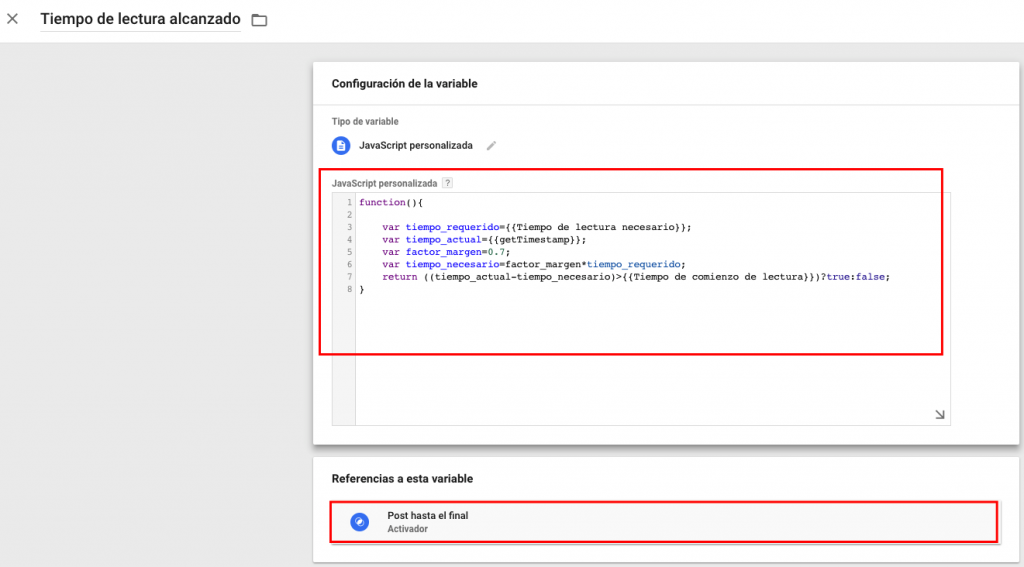Variable JS en Google Tag Manager