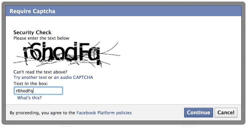 Ventana emergente de Facebook solicitando la resolución de una imagen captcha para continuar.