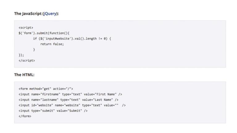 Código HTML y jQuery de ejemplo para evaluar si cierto campo de un formulario ha sido completado.
