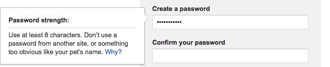 Cuadro de texto junto a los campos de creación de contraseña en un formulario indicando cuáles son los requisitos de la misma.